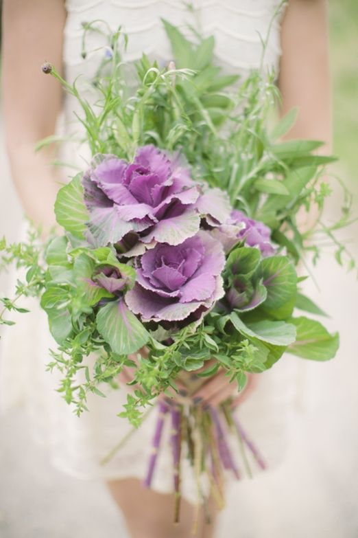 Vegetable patch inspired wedding floral crown, bouquet and buttonholes with herbs, cabbages and cornflowers