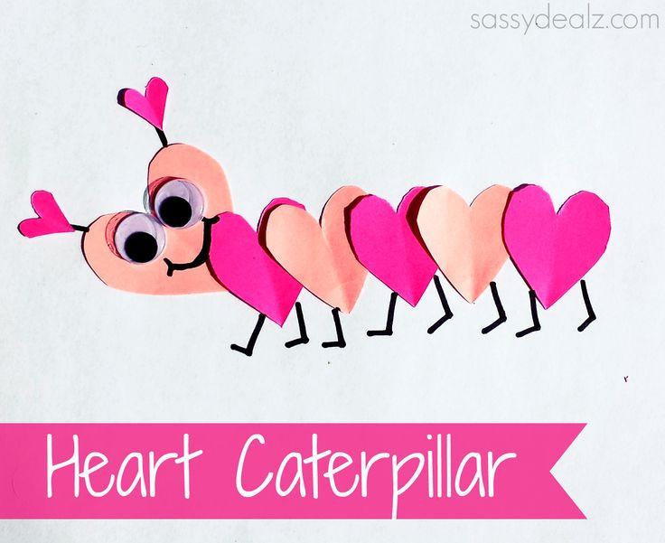Valentine's Day Heart Caterpillar Craft For Kids #Love bug #Pink art project | CraftyMorning.com