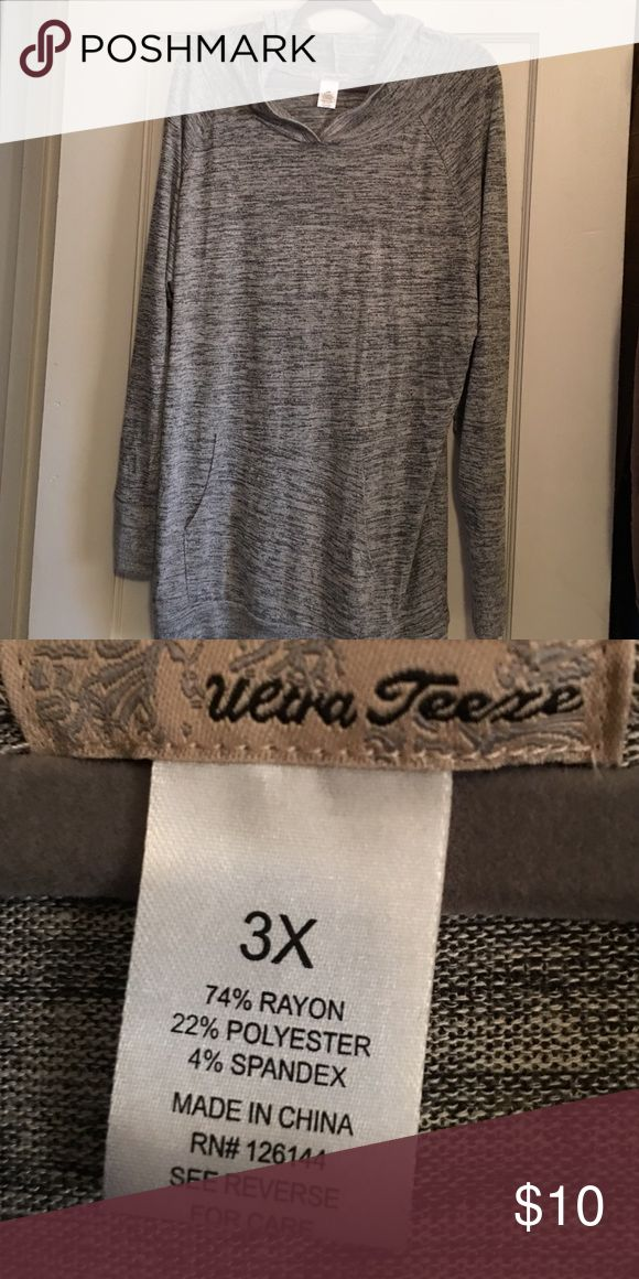 Cute lightweight sweatshirt Really cute heather gray hooded and pocketed sweatshirt. NWOT. I thought I would love this material, but didn't...so never worn. Would be great with leggings. Tops