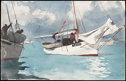 Winslow Homer (American, 1836–1910). Fishing Boats, Key West, 1903. The Metropolitan Museum of Art, New York. Amelia B. Lazarus Fund, 1910 (10.228.1) | Few of Homer's watercolors rival this one for its effects of simmering sunlight and steamy atmosphere, achieved through the speed of application of wet on wet washes, the broad and dexterous exploitation of the white paper reserve, and the judicious sponging of wet pigment, especially in the shadows, reflecting light off the water.