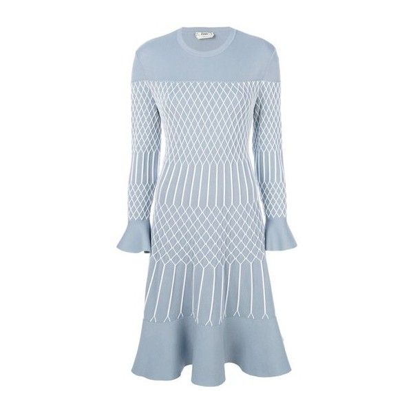 FENDI Mesh Effect Dress (23.370 ARS) ❤ liked on Polyvore featuring dresses, light blue, light blue short dress, light blue dress, going out dresses, flared dresses and short blue dress