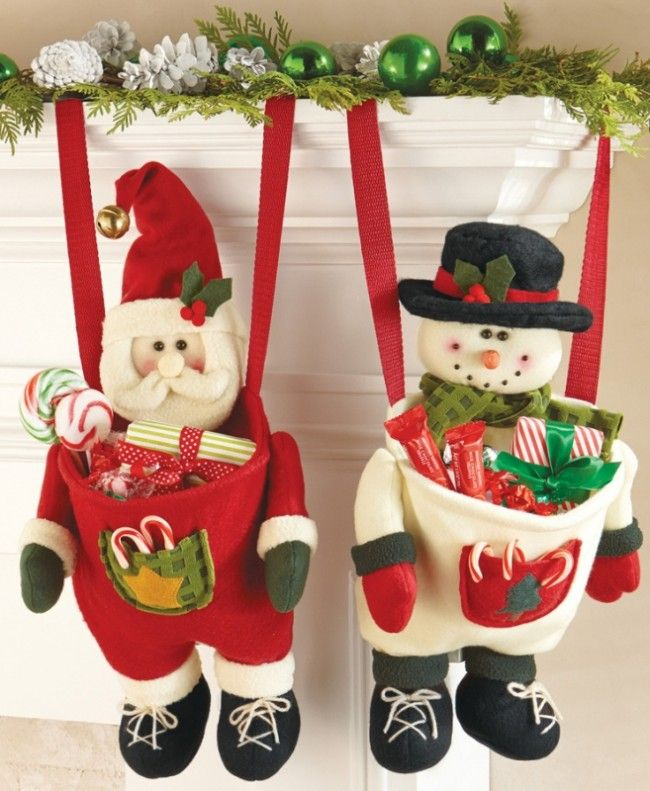 Festive Hanging Christmas Stocking with Pouch - These adorable stockings feature long ribbons for hanging anywhere in your home. The body of each unique stocking is a deep pouch that's perfect for stuffing with candy, treats or gifts. Nylon, iron and polyester....  #Christmas #Christmas2014
