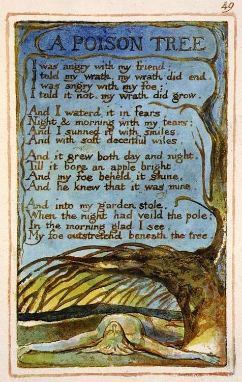Zehir Ağacı - A Poison Tree Poem and Art By William Blake Kızgındım arkadaşıma,kinliydim Söyledim ona kinimi,giderek söndü Kızgındım düşmanıma,kinliydim Söyleyemedim bir türlü,günlerce büyüdü. Onu korkularımla suladım Geceler boyu gözyaşlarımla Gülücüklerle onu aldattım Yumuşak,hileli oyunlarımla. Gittikçe büyüdü gündüz ve gece Saklanamaz oldu parlak bir elma gibi Düşmanım yakalandı onun menevişlerine Bile bile benden geldiğini. Ve sonuçta bahçeme çalmaya girdi Bir gece ki karanlığı dünyayı…