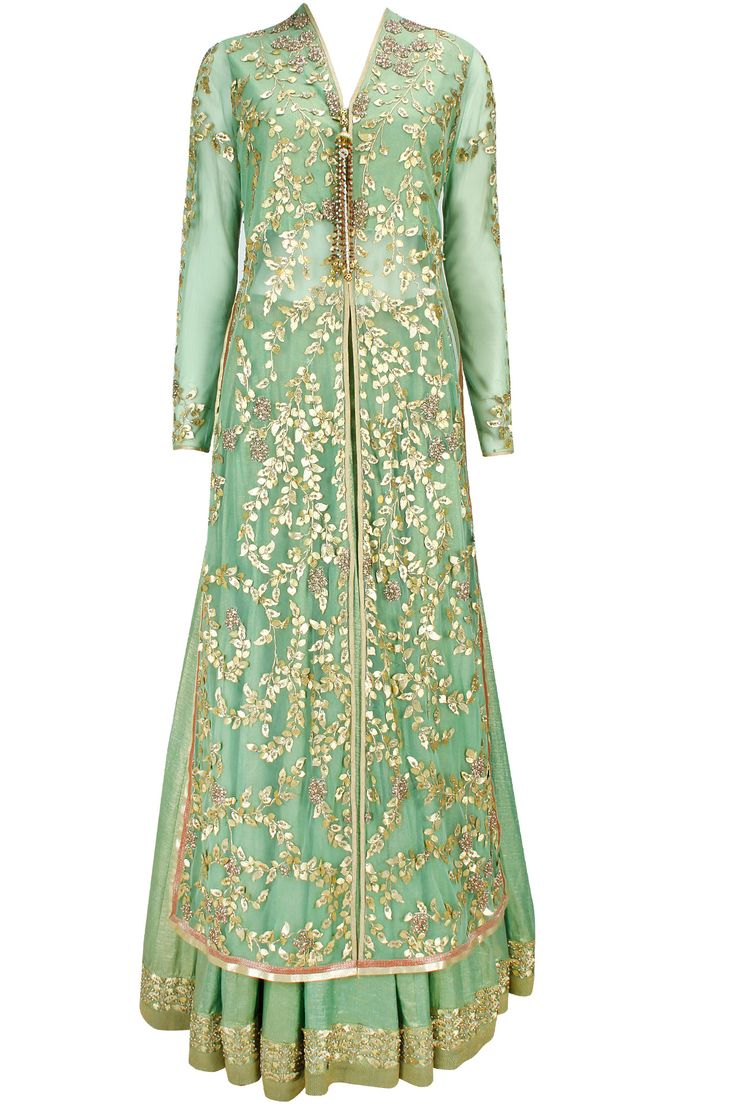Sage green gota patti long jacket with foil lehenga and dupatta available only at Pernia's Pop-Up Shop.