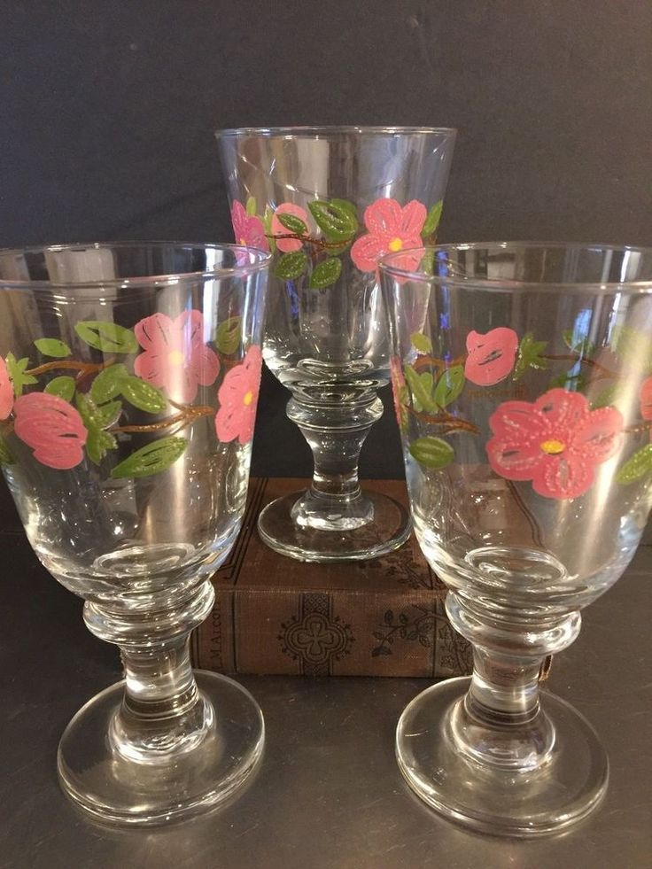 Vintage Franciscan Ware Glassware Goblet Water Glass Stemware Desert Rose USA #FranciscanWare #MidCentury