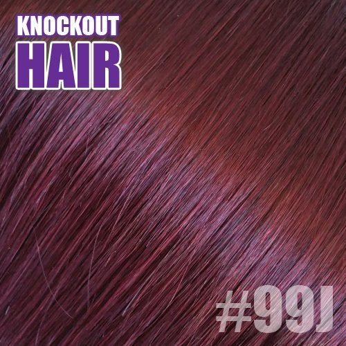 """Halo Hair Extensions 20"""" Plum (#99J) - Human No Clip In Flip In Couture by Knockout Hair"""
