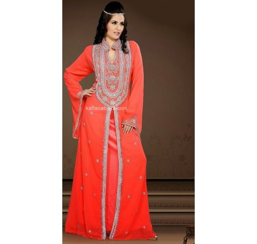 Orange Faux Georgette Dubai Fancy #Kaftan