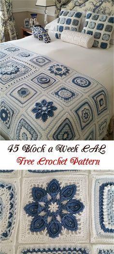 """45 """"Block a Week"""" CAL Free Crochet Pattern #crochet #crochetpattern #freepattern #homedecorideas"""