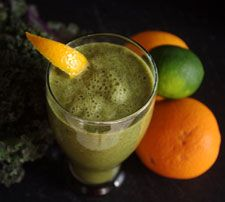 COCONUT-CITRUS DETOX GREEN SMOOTHIE.  8 ounces unsweetened coconut milk  2 oranges, peeled and deseeded  1 medium banana, peeled  3-and-1/2 cup kale, chopped  1/2 lime, peeled