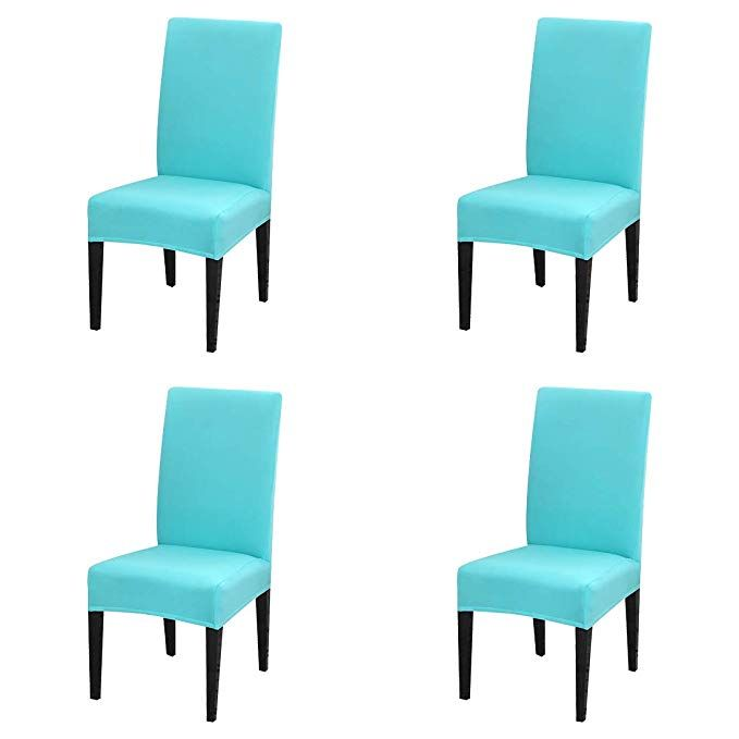 Jqinhome 4 Pcs Dining Chair Slipcover High Stretch Removable Washable Chair Seat Protector Cover F Slipcovers For Chairs Dining Chair Slipcovers Dining Chairs