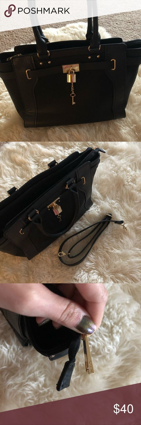 Aldo tote bag Black faux leather Aldo Tote bag! Hold hardware, roomy interior with pockets. Removable long shoulder strap. Hardly used! Aldo Bags Totes