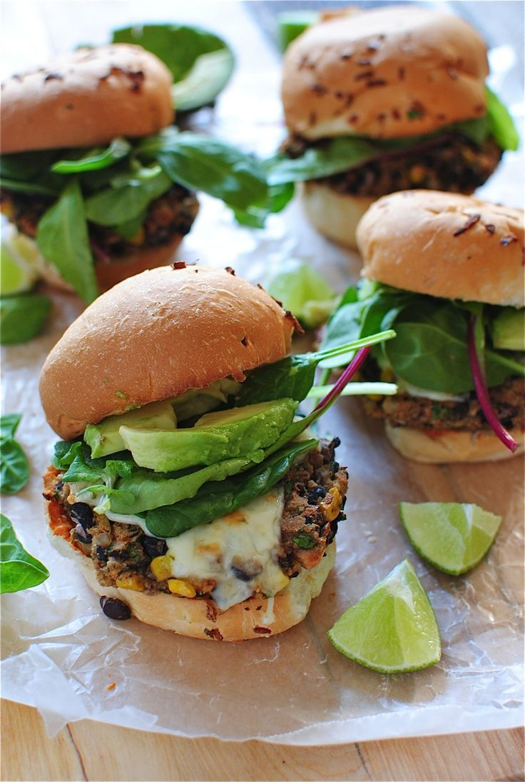 Chipotle black bean burgers with avocado. Great vegetarian burger recipe idea!