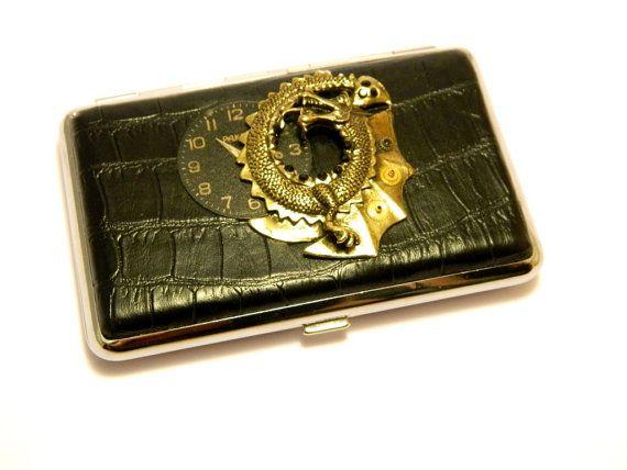 Steampunk dragon case steampunk business card holder for Steampunk business card holder