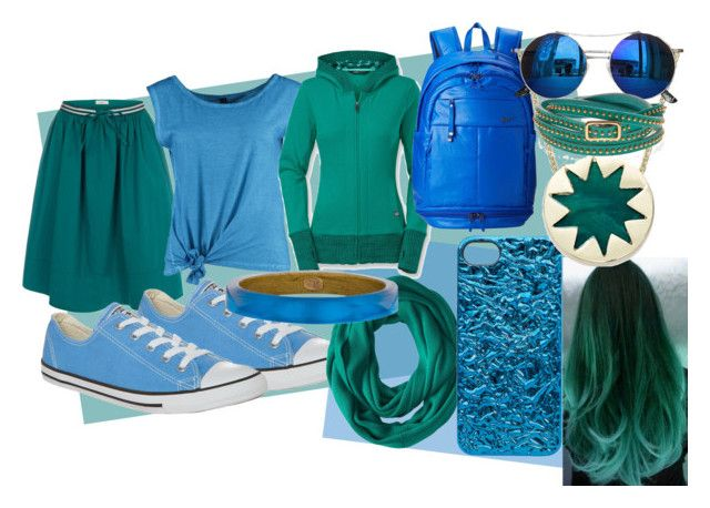 blue/green and blue by slytheriner on Polyvore featuring The North Face, Fresh Made, Paul Smith, Converse, NIKE, House of Harlow 1960, Alexis Bittar, Marc by Marc Jacobs, Calvin Klein and Chicnova Fashion