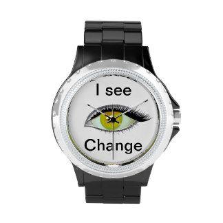 I watch and see change golden eye wrist watch