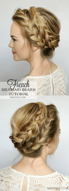 French milkmaid braids updo hair tutorial