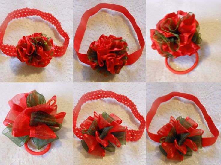 XMAS GIRL PARTY DANCE RED GREEN PUFF SATIN CHIFFON BOBBLE RIBBON HAIR ACCESSORY  #HandmadebyBONNIEBOBBLES