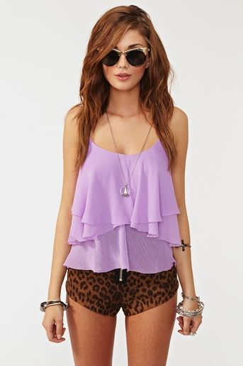 Flowy purple shirt w/cheetah shorts doesnt look good together but I like each piece