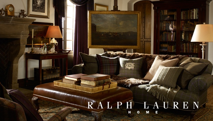Ralph Lauren Home I Would Love For This To Be My Living Room Glen Plaid Sofa Bar Cart As Table