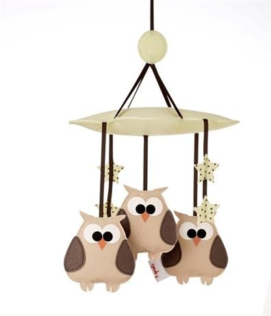 3 Sprouts Cot Mobile - Owl & Star    Price: $32.95    Description:    Beautiful owl and star cot mobile by the stylish 3 Sprouts!    A welcome addition to any child's room, the 3 Sprouts mobile exudes a cozy whimsy for your baby to enjoy while drifting off to sleep. As the mobile floats above your little one can watch their favorite animal friends romp under a fluffy felt cloud. The 3 Sprouts mobile makes a great nursery gift! Each mobile comes fully assembled and ready to hang.