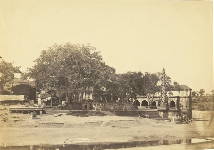 A photograph of a view in Poona from the 'Vibart Collection of Views in South India' taken by an unknown photographer about 1855 - via the British Library This is a temple at Sangam Mahuli near Satara. See a recent photograph taken by @Mulamutha https://twitter.com/Mulamutha/status/383458955537575936