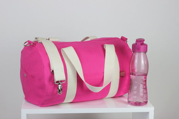 $  Pink Sport Bag Duffel Bag Long and Adjustable Cotton Strap Washable Gym Bag Yoga Bag Chic Daily Use Zippered Closure Unisex Bag Circle Bag by hippirhino         #totebag  #waxedbag#fashion  #slingbag #accessories  #Purse  #fashion  #CrossBody  #vintage