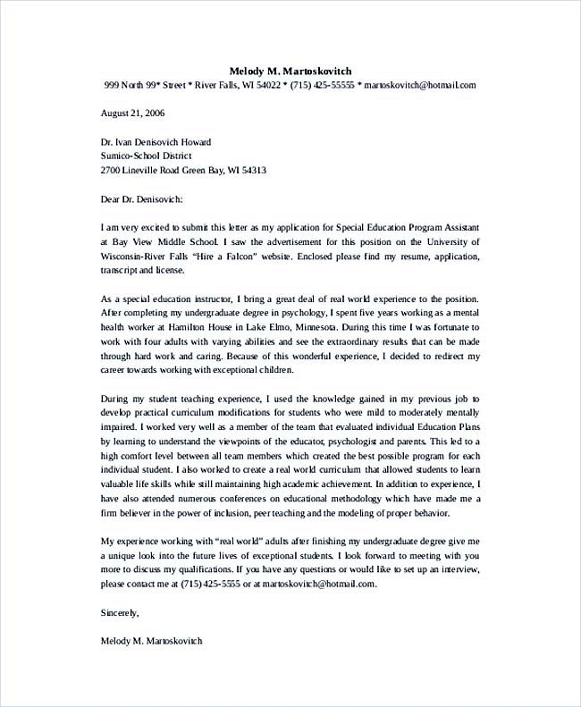 Special Education Program Assistant Teacher Cover Letter Template ...