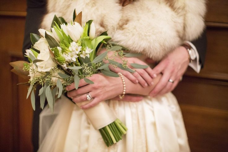 This bride had a classic, vintage look for her winter wedding. | A Romantic Winter-Themed Wedding