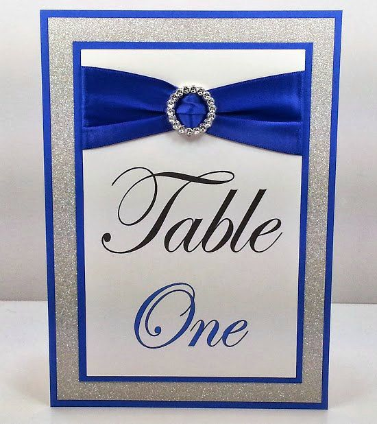 Cobalt Royal Blue Wedding Table Numbers Full of Bling, Sparkle, and Dazzle-Custom & Handmade-EASEL