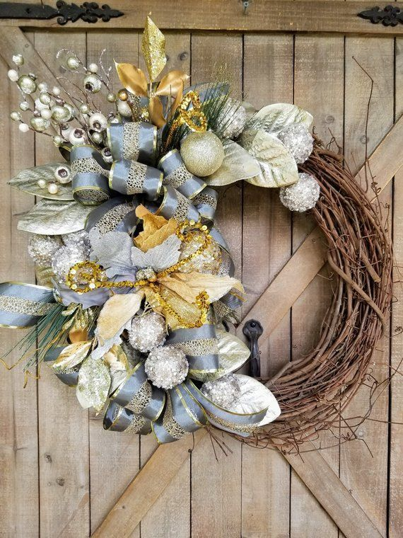 Gorgeous Gold and Grey Christmas Wreath, Christmas front door wreath
