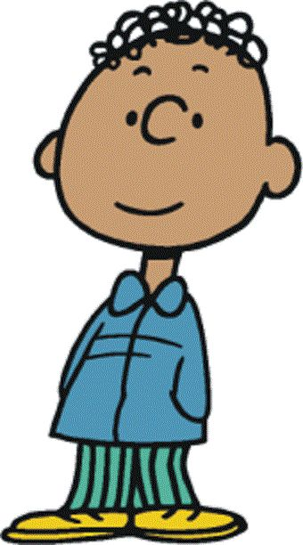 Franklin - the first African-American character to appear in the strip. He and Charlie Brown first met at the beach and he is a frequent visitor to Charlie Brown's neighborhood. They enjoy talking to each other, usually at the wall and have conversations about their grandfathers.