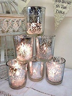 Juego de 6 de cristal plateado soporte para portavelas para velas de té portavelas decoración para árbol de Navidad de boda