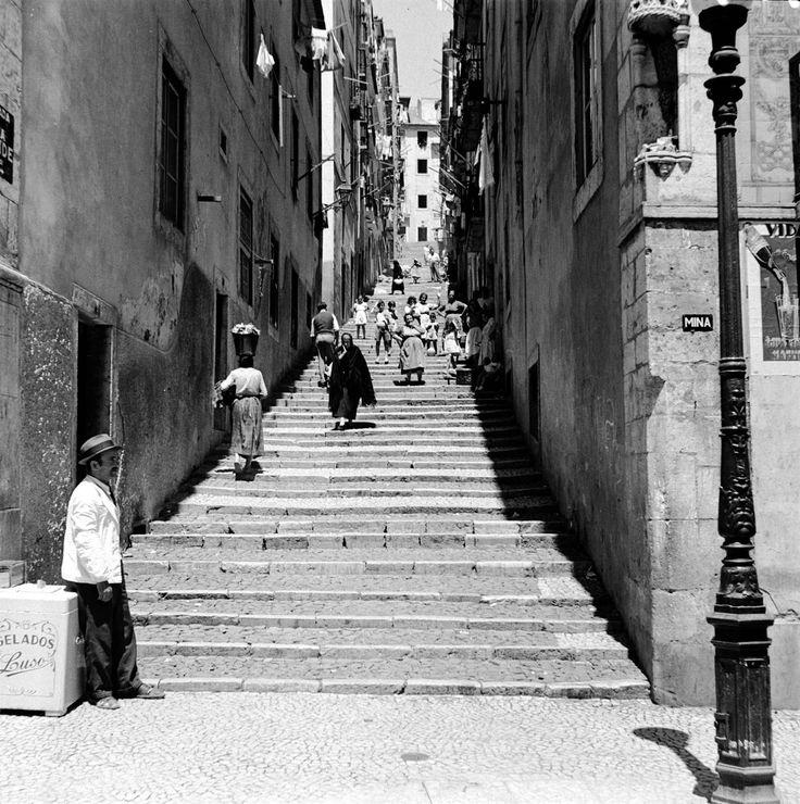 Calçada da Bica Grande {c. 1900] Note-se no cunhal do prédio que vira para a Rua de S. Paulo, um nicho com baldaquino, de delicada escultura do séc. XVIFotógrafo não identificado, in AML