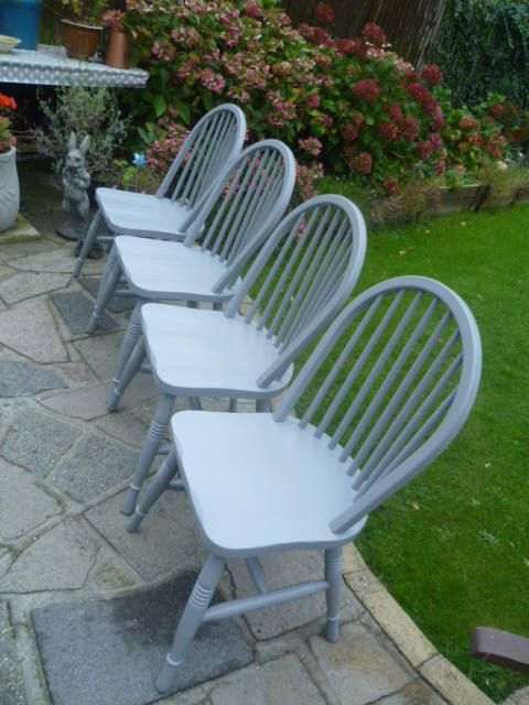 4 x Shabby Chic Chairs up-cycled in 'Mid-Grey' chalk paint (collection only from Bromley Kent UK) by SunflowerLou on Etsy