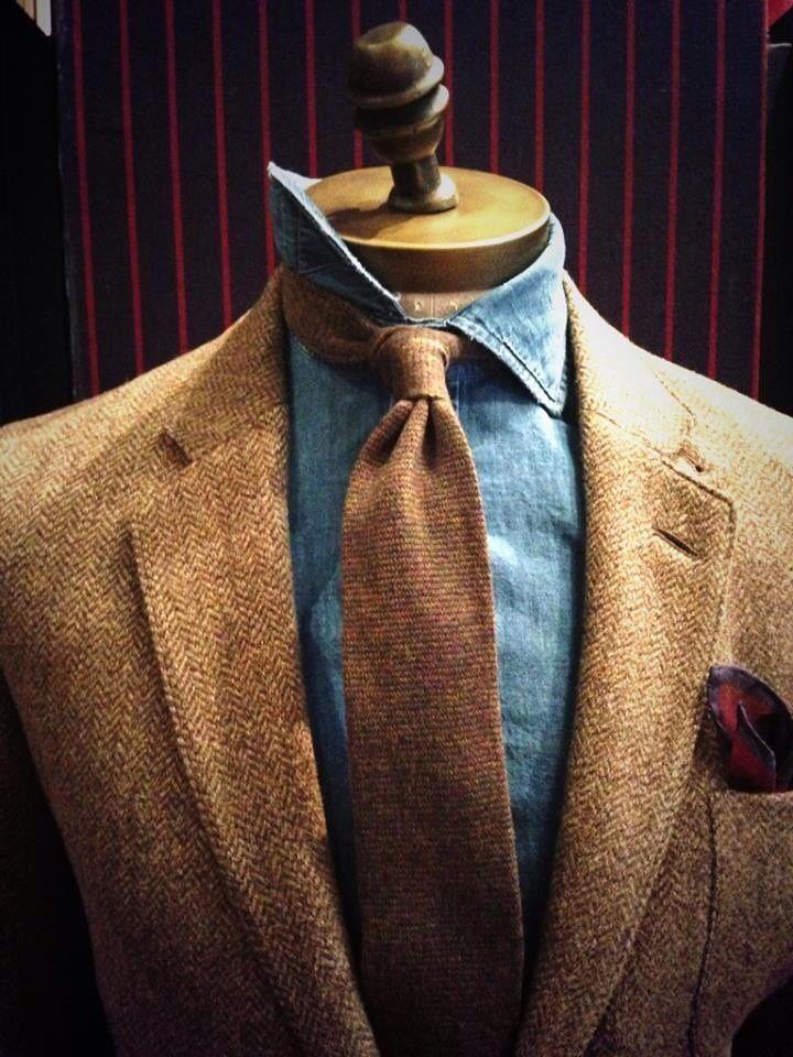 vintage denim shirt paired with Harris tweed jacket