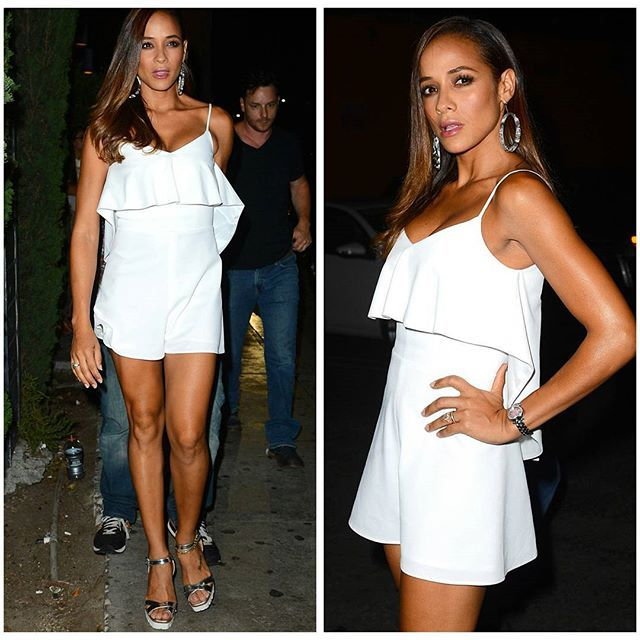 #DaniaRamirez  wears #PeggyHartanto white 'Aurora' romper and #LeSilla chrome platform sandals to #justjared  #wonderland party at Grey Stone Manor... #killin #stylish #rtw2015  #myClientsRule #MyGirlzRock #lookwhatwedid #white  #instagoodnight  #classnotass