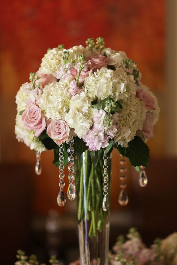Rose hydrangea stock pink and white centerpiece