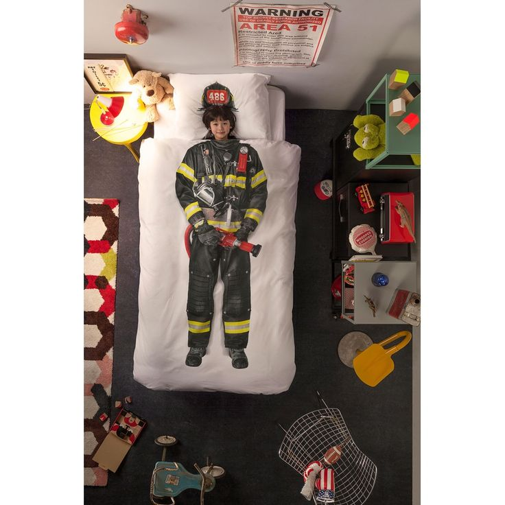 SNURK Childrens Firefighter Duvet Bedding Set | A unique kids bed linen set with quirky photographic print, great for a firefighter themed kids room