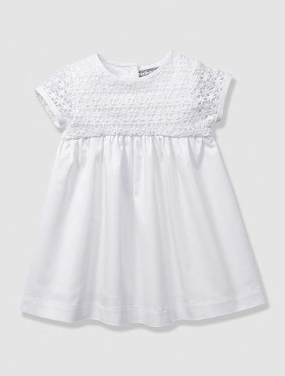 Robe de cérémonie bébé fille en satin et guipure Blanc+Eau de rose - vertbaudet enfant