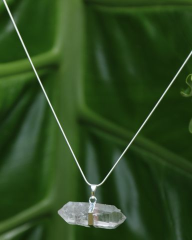 Large Quartz Crystal Point Pendant on Silver Snake Chain – Bohemian Tapestry