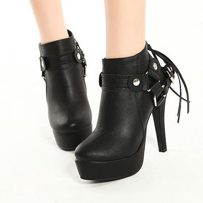 Spring Autumn Round Toe Tassel Embellished Stiletto High Heels Black PU Ankle Martens Boots