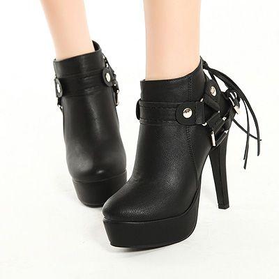 Spring Autumn Round Toe Tassel Embellished Stiletto High Heels Black PU Ankle Martens Boots