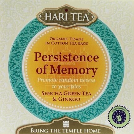 Hari Tea Persistence of Memory - Promote random access to your files.  Bring the temple home. Hari products are based out of the yogic tradition as taught by Yogi Bhajan. (Ingredients marked with * are certified organic)    Ingredients: Sencha green tea* (64%), linden flowers*, ginkgo* (7%), lemon grass*, elderflower*, rose petals*, turmeric root*, black pepper*.