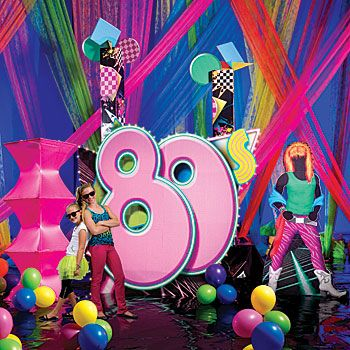 80s Party Supplies, Eighties Party Supplies- love the giant '80's'.  Mabye black splattered with neon paint colors?