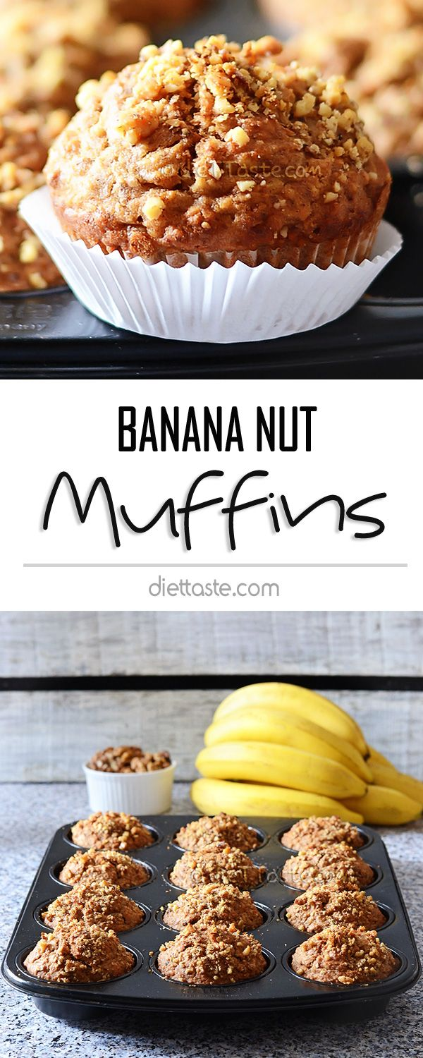 Banana Nut Muffins - healthy breakfast muffins, full of walnuts, banana, oats and whole wheat flour