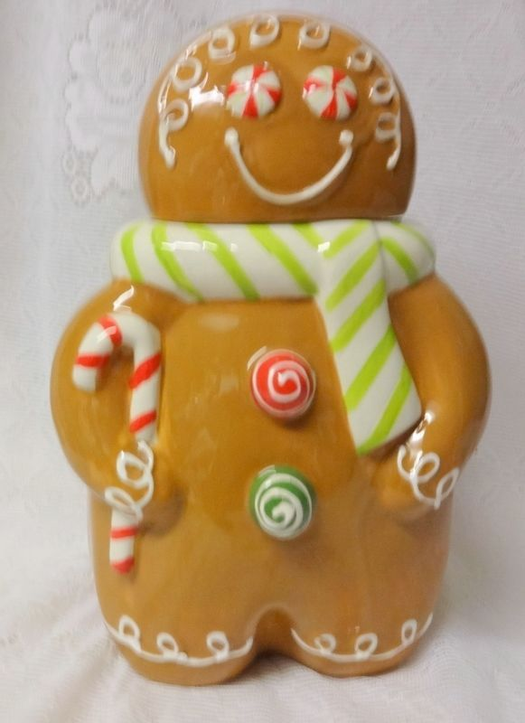 Cracker Barrel Christmas Sweets And Treats Gingerman Gingerbread Cookie Jar Box