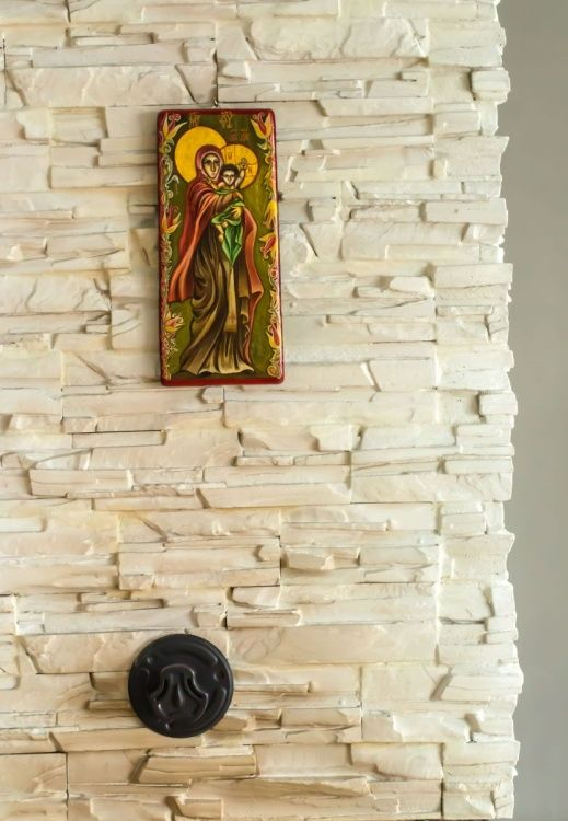 Virgin Mary Orthodox Byzantine icon on wood - handmade - In-context view (home interior)