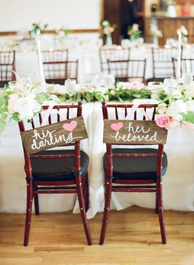 These chairs are so sweet! http://www.stylemepretty.com/2014/12/12/blush-pink-mountain-lodge-wedding/ | Photography: Connie Dai - http://www.conniedaiphotography.com/