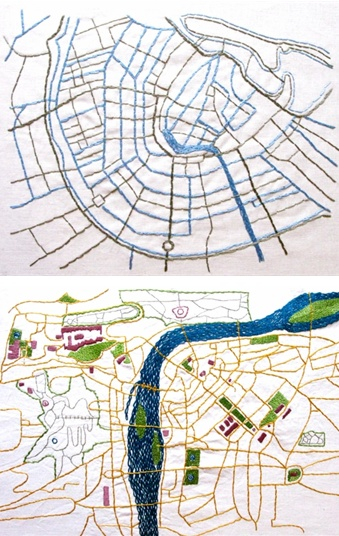 Embroidered maps . . . Amsterdam on top . . . Prague on bottom
