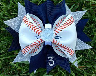 Personalized Custom Baseball Hair Bow Made From Real Leather Baseball--Great For Baseball Sisters--Great Baseball Gifts--Baseball Moms
